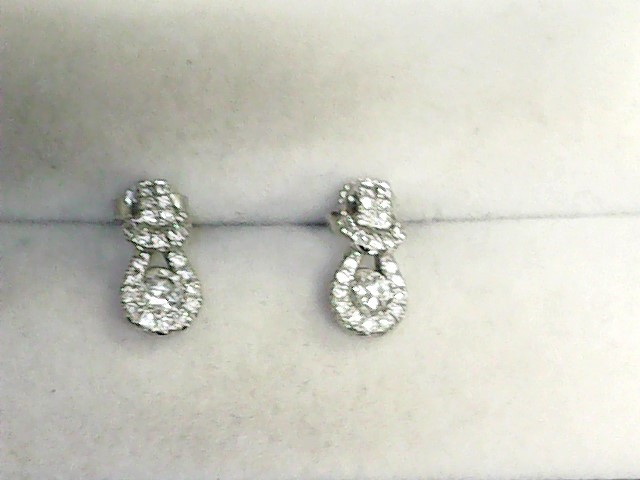 Gold-Diamond Earrings 50 Diamonds .64 Carat T.W. 14K White Gold 1.6dwt