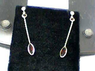 Synthetic Almandite Garnet Gold-Stone Earrings 14K Yellow Gold 0.7dwt