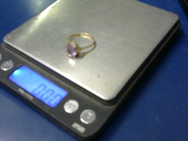 Purple Stone Lady's Stone & Diamond Ring 2 Diamonds .02 Carat T.W.