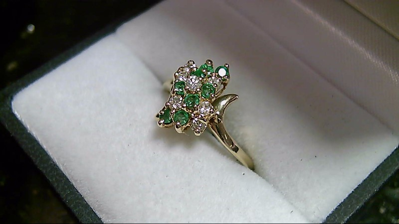 Emerald and Round Diamond Cluster Yellow Gold Fashion Ring
