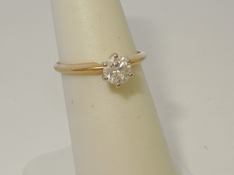 Lady's Diamond Solitaire Ring .50 CT. 14K Yellow Gold 1.8g
