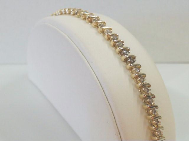 """VINTAGE NATURAL DIAMOND TENNIS BRACELET SOLID REAL 14K GOLD 7.5"""""""
