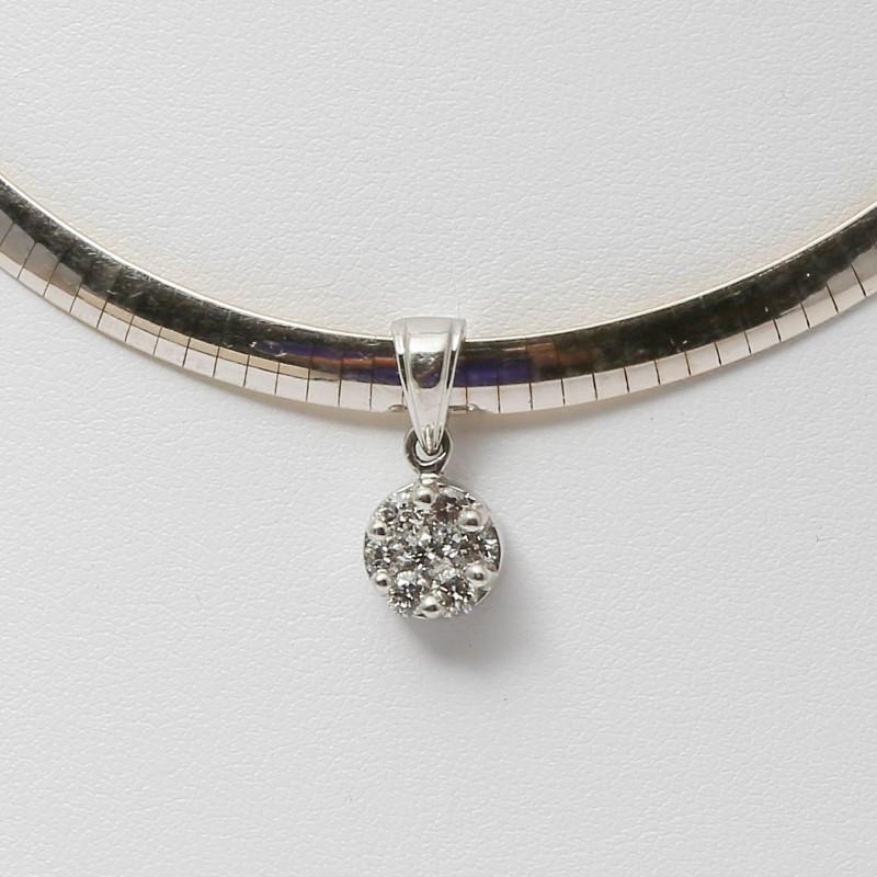 "16"" 14K 2-Tone Gold Round Cluster Diamond Pendant Omega Necklace"