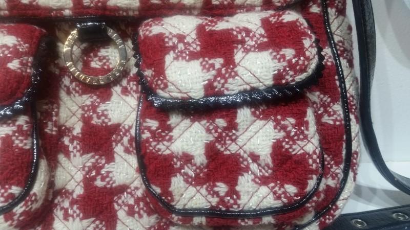 Vera Bradley Red & White Knit Tweed Houndstooth Crossbody Handbag Purse