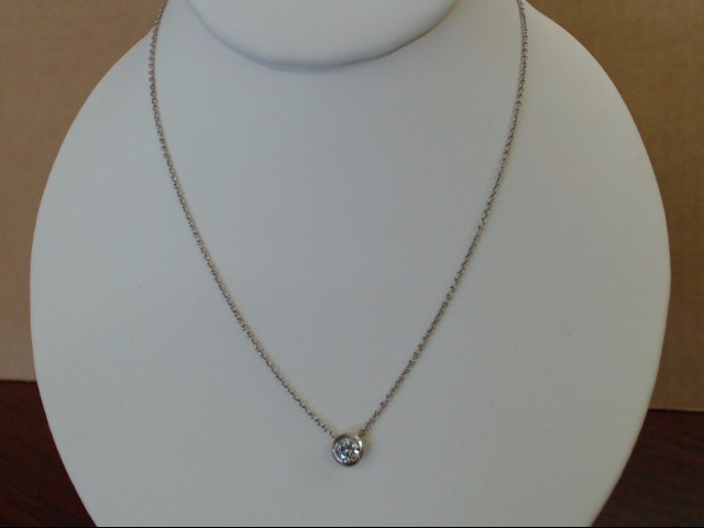 ESTATE NATURAL DIAMOND NECKLACE PENDANT 14K WHITE GOLD BEZEL SET 18""