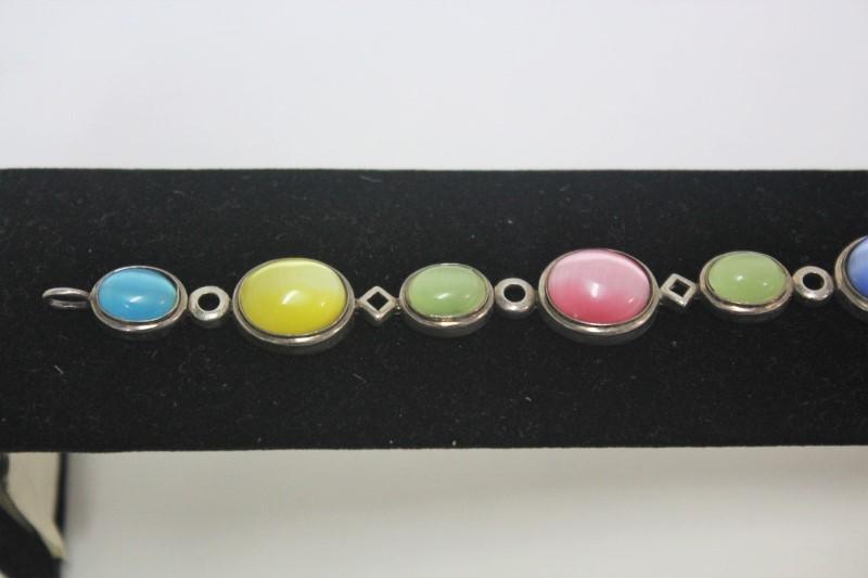 Synthetic Cats Eye Crysoberyl Silver-Stone Bracelet 925 Silver 22.4g