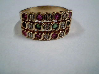 Pink Stone Lady's Stone & Diamond Ring 9 Diamonds .09 Carat T.W.