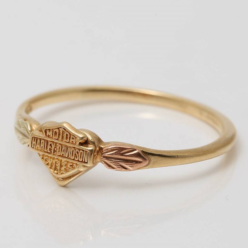 10K Yellow Gold Harley Davidson Ring W/ Leaf Accents Size 7.75
