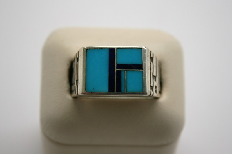 GENT'S FASHION TURQUIOSE SILVER RING
