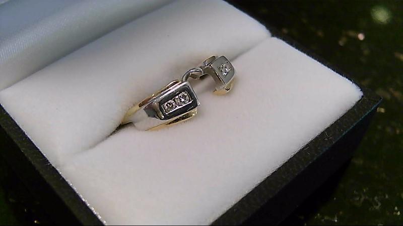 Lady's Gold-Diamond Ring Guard 4 Diamonds .08 Carat T.W. 14K 2 Tone Gold 3g