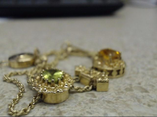 Orange Stone Gold-Stone Bracelet 14K Yellow Gold 10.7g
