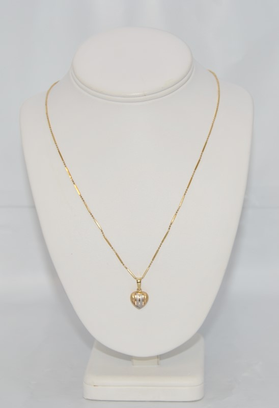18K Two Tone Gold Striped Diamond Cut 3D Heart Pendant Necklace w Ball Bar Chain