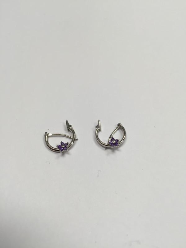 Purple Stone Gold-Stone Earrings 10K White Gold 0.5g