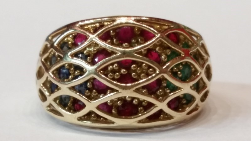 Ruby Lady's Stone Ring 10K Yellow Gold 6.3g Size:8.5
