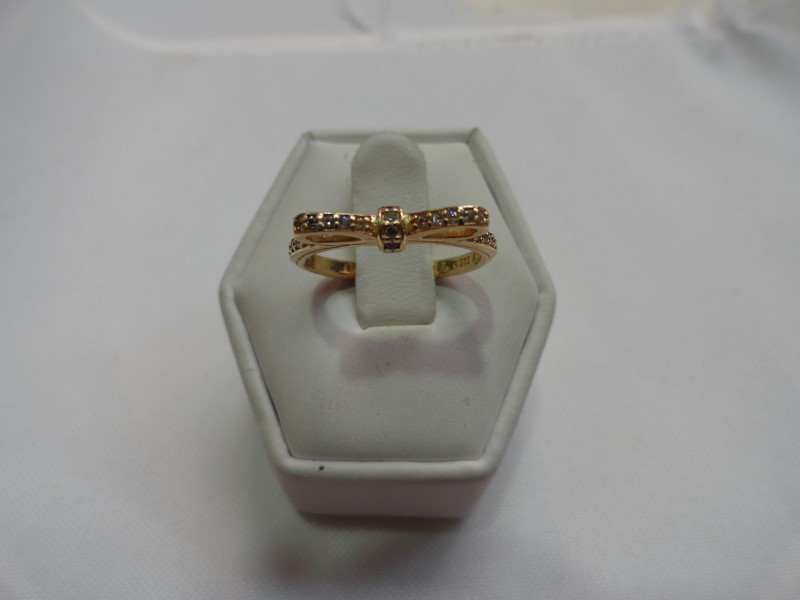 Pandora Sparkling Bow Lady's CZ Ring 14K Yellow Gold 2.9g Size:7