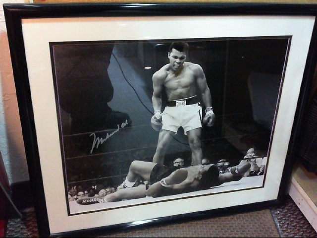 MUHAMMAD ALI SIGNED PHOTO OVER SONNY LISTON 25.5 X 21.5 FRAMED WITH COA