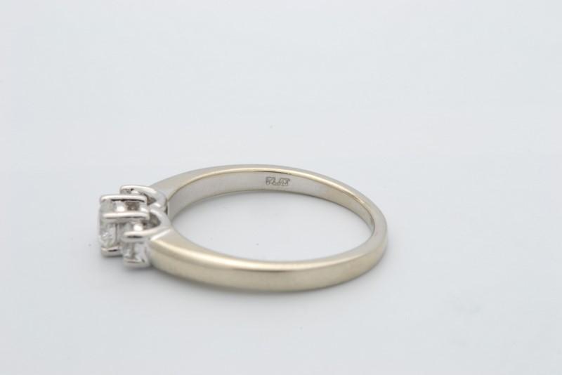 ESTATE 3 DIAMOND RING SOLID 14K WHITE GOLD & PLATINUM ENGAGEMENT 6.5