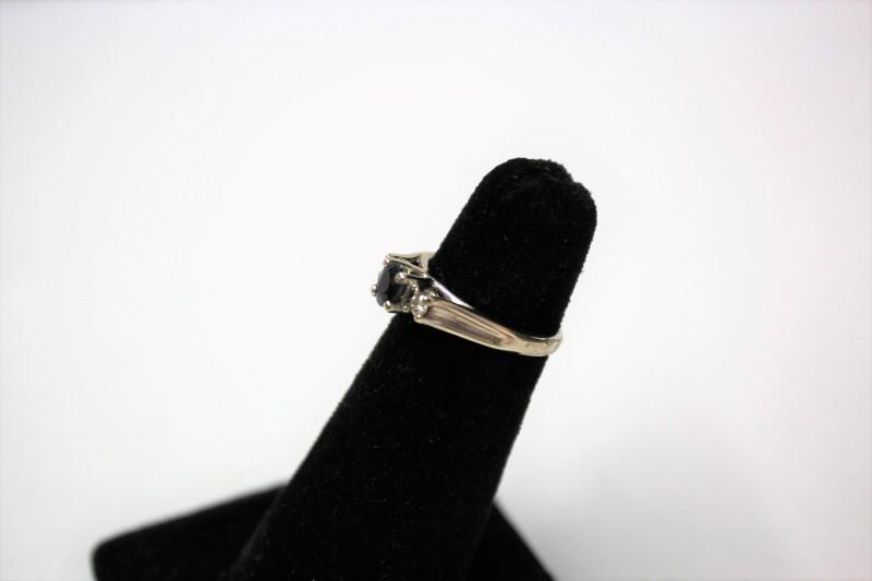 Blue Stone Lady's Stone & Diamond Ring 2 Diamonds .12 Carat T.W. 10K White Gold