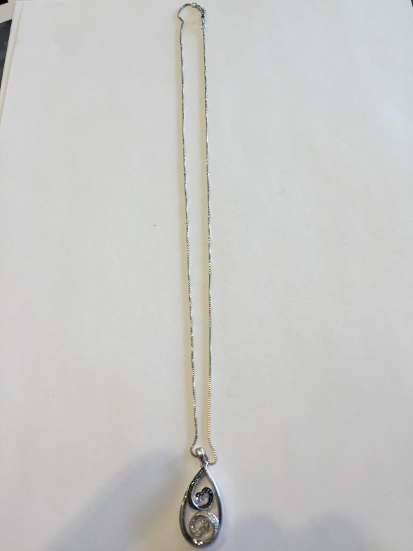 Diamond Necklace 62 Diamonds .62 Carat T.W. 925 Silver 5.4g