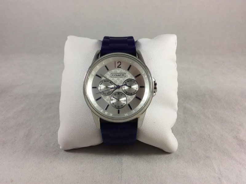 Coach 14501881 Classic Signature Sport Dark Purple Silicone Band Stainless Watch