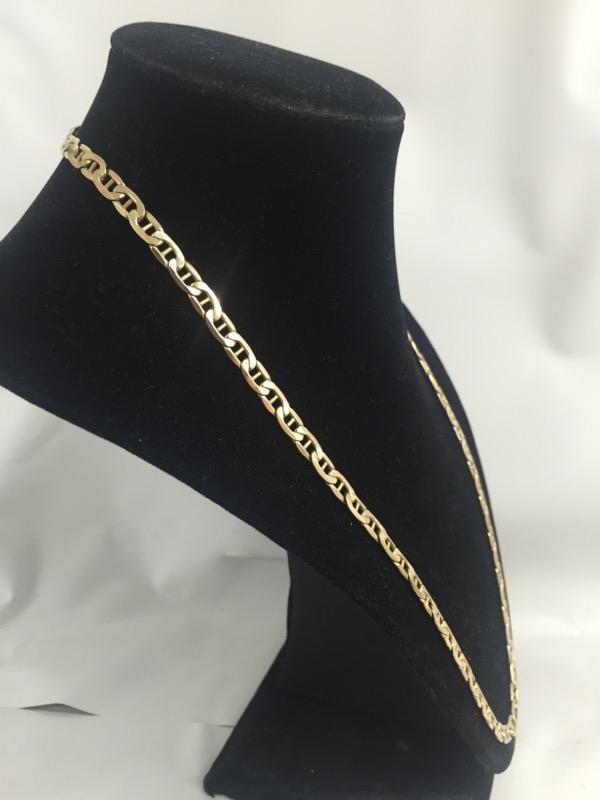 """22"""" Gold Anchor Chain 10K Yellow Gold 7.2dwt"""
