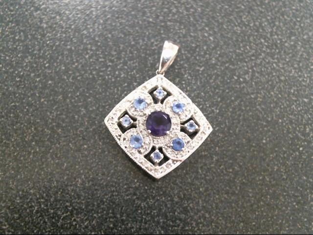 Purple Stone Gold-Diamond & Stone Pendant 50 Diamonds .50 Carat T.W.