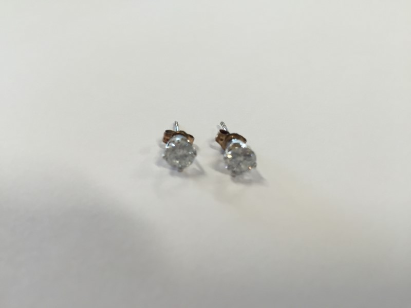 Gold-Diamond Earrings 2 Diamonds .80 Carat T.W. 14K White Gold 0.8g