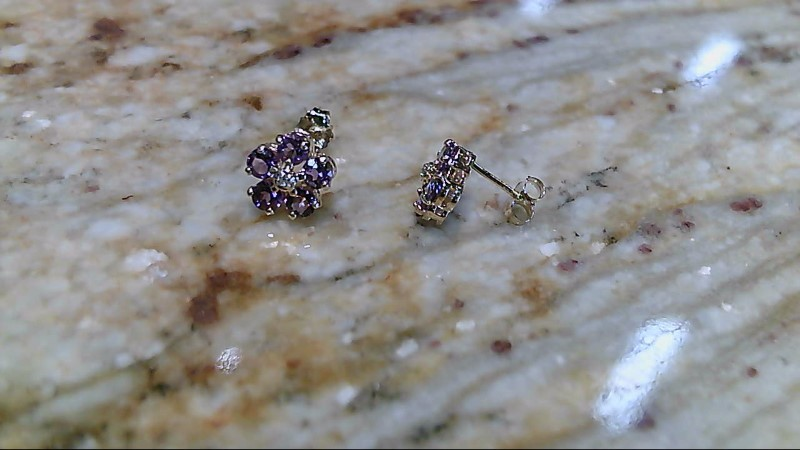 Amethyst Gold-Diamond & Stone Earrings 2 Diamonds .02 Carat T.W.
