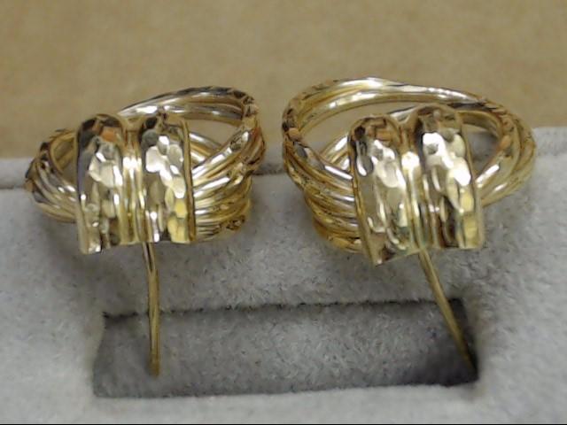 ESTATE DOOR KNOCKER DOUBLE HOOP KNOT EARRINGS HAMMERED REAL 14K GOLD
