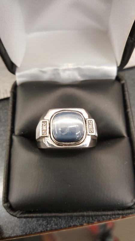 Blue Stone Gent's Silver-Diamond & Stone Ring 2 Diamonds .02 Carat T.W.