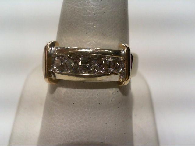 Gent's Diamond Fashion Ring 5 Diamonds .56 Carat T.W. 14K White Gold 9.1g