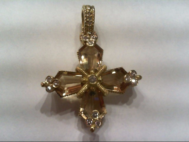 Gold-Multi-Diamond Pendant 13 Diamonds .41 Carat T.W. 14K Yellow Gold 8.1g