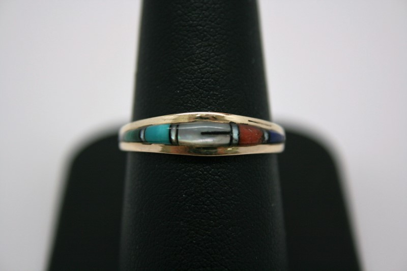 MULTI COLOR STONE RING 14K YELLOW GOLD