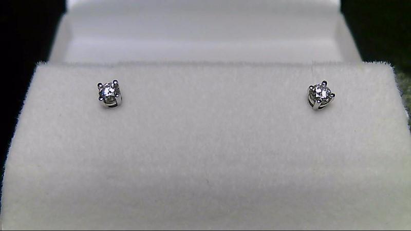 Gold Diamond Screwback 14K White Gold Earrings 2 Diamonds .30 Carat