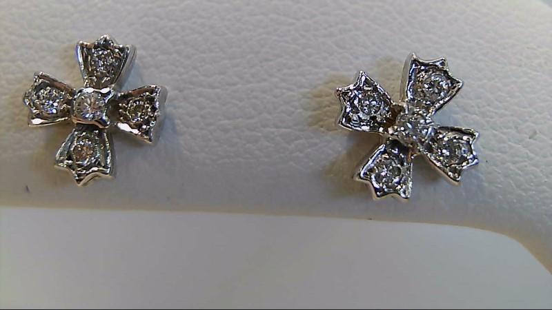 Platinum-Diamond Earrings 10 Diamonds .10 Carat T.W. 950 Platinum 1.4g