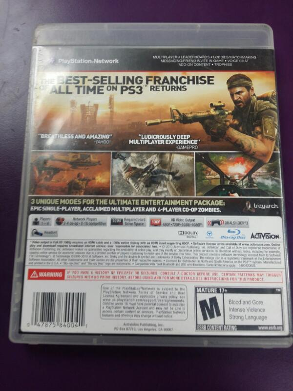 Sony PlayStation 3 Game Call Of Duty Black Ops