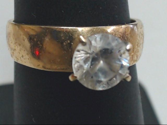 White Stone Lady's Stone Ring 10K Yellow Gold 2.7g Size:6.8
