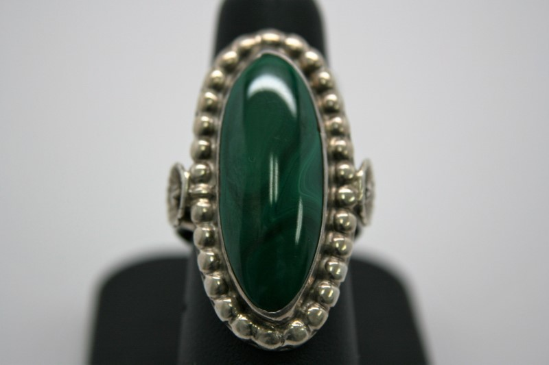 MALACHITE SILVER RING 7