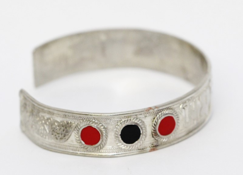 Sterling Silver Middle East Inspired Black & Red Enamel Cuff Bracelet