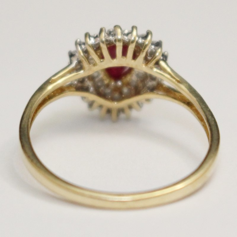 Unique Natuarl Pear Shaped Ruby and Diamond Ring, Size 6.5