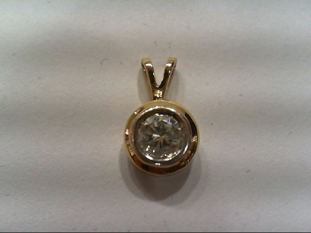 Gold-Diamond Solitaire Pendant 1 Diamonds .83 Carat T.W. 14K Yellow Gold 0.9g