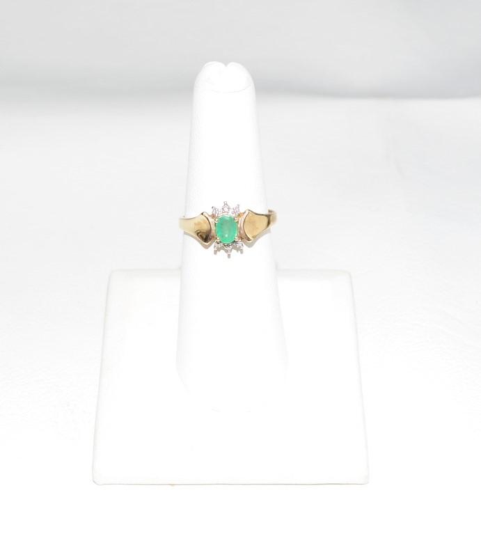 Emerald Lady's Stone & Diamond Ring 2 Diamonds .008 Carat T.W. 10K Yellow Gold