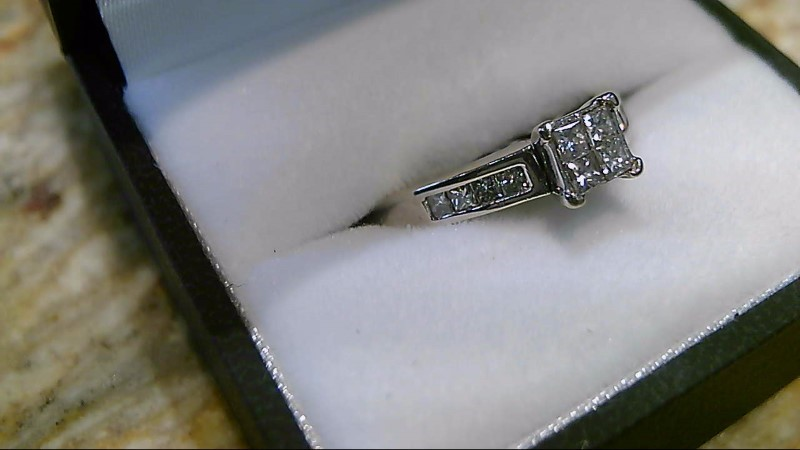 Lady's Diamond Engagement Ring 12 Diamonds .80 Carat T.W. 14K White Gold 3.7g