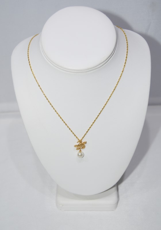 "14K Yellow Gold Sea Turtle Pearl Drop Necklace on 18"" Rope chain"