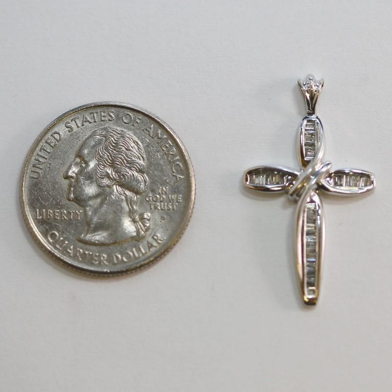 10K White Gold and Multi Baguette Cut Diamond Cross Pendant