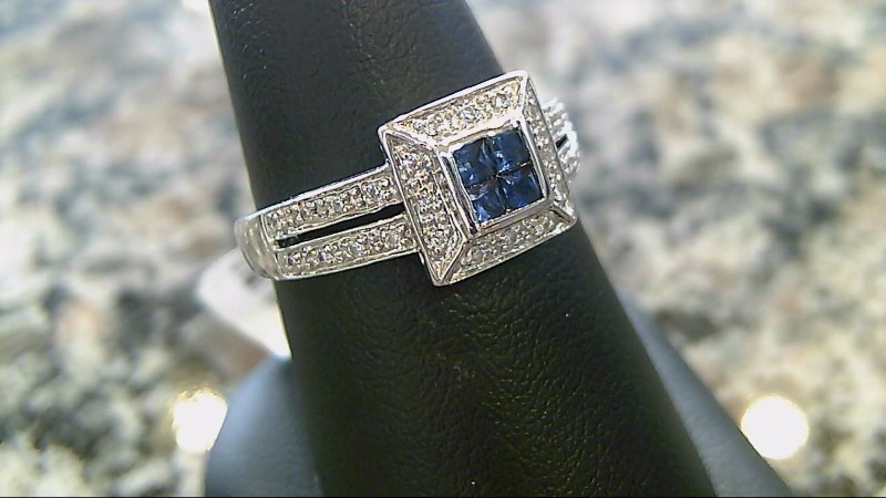 Sapphire Lady's Stone Ring 14K White Gold 2.7g