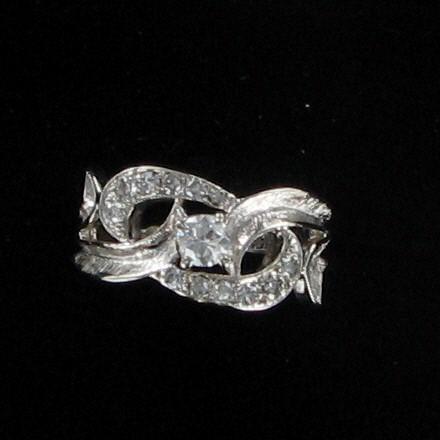 Lady's Diamond Fashion Ring 13 Diamonds .51 Carat T.W. 14K White Gold 2.8dwt