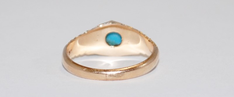 VINTAGE 14K CABOCHON CUT TURQUOISE RING YELLOW GOLD SIZE 5.25