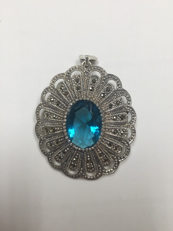 Teal Stone Silver-Stone Brooch 925 Silver 12.9dwt