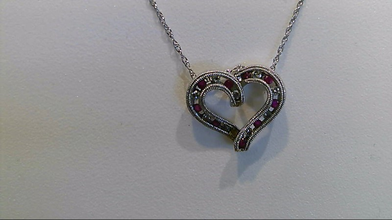 """Lady's 14k white gold genuine round ruby and diamond heart 18"""" necklace"""